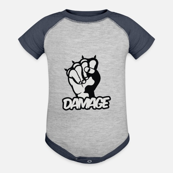 Movie Baby Clothing - Damage - Baseball Baby Bodysuit heather gray/navy