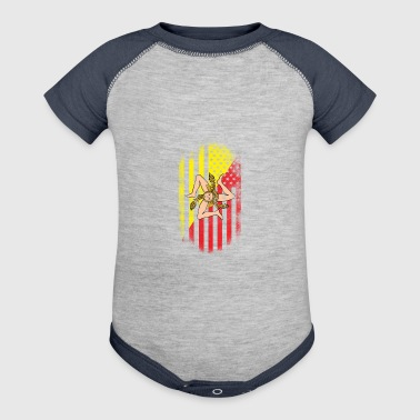 Sicilian American Flag Sicily and USA Design - Baby Contrast One Piece