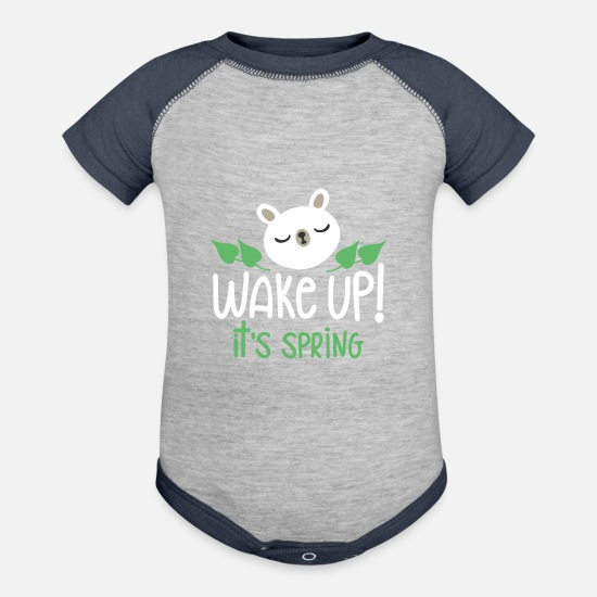 Birthday Baby Clothing - Wake Up It s Spring - Baseball Baby Bodysuit heather gray/navy
