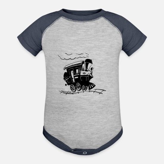 Transport Baby Clothing - train - Baseball Baby Bodysuit heather gray/navy
