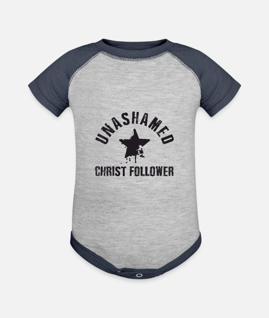 Church Baby One Pieces - Unashamed Christ Follower - Baseball Baby Bodysuit heather gray/navy