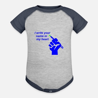 Write Your Name I write your name in my heart - Baseball Baby Bodysuit