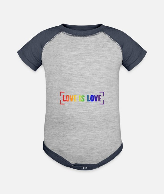 Heart Baby One Pieces - LOVE IS LOVE - Baseball Baby Bodysuit heather gray/navy