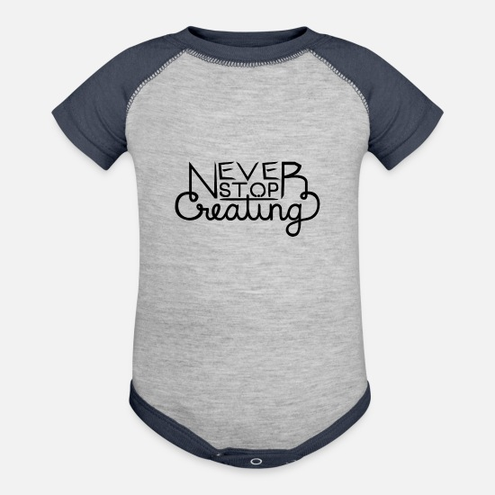 Create Baby Clothing - Never Stop Creating - Baseball Baby Bodysuit heather gray/navy