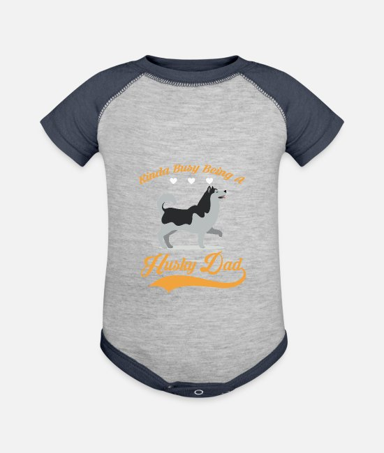 HUSKY DAD Baby One Pieces - Kinda busy being HUSKY DAD - Baseball Baby Bodysuit heather gray/navy