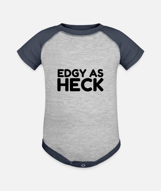 Artist Baby One Pieces - Edgy As Heck - Baseball Baby Bodysuit heather gray/navy