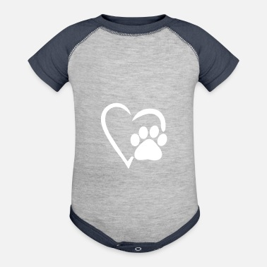 Animal heart dog paw dog mom womens shirt gift print - Baby Contrast One Piece