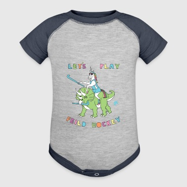 Let's Play Field Hockey Unicorn Riding Dinosaur - Baby Contrast One Piece