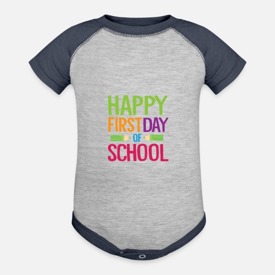 School Baby Clothing - Happy First Day of School Teacher Funny Back to School Shirt - Baseball Baby Bodysuit heather gray/navy