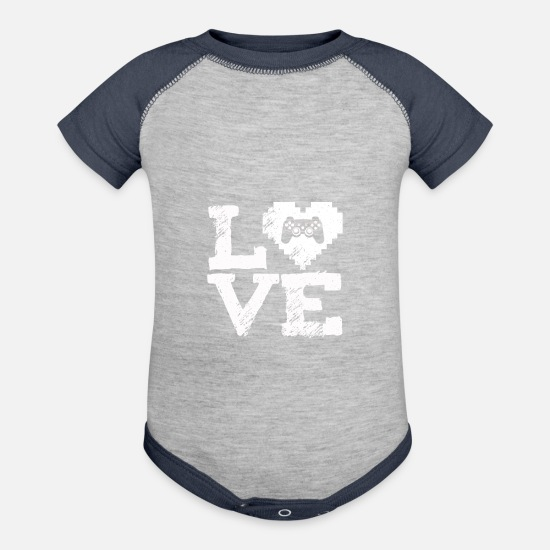 Birthday Baby Clothing - I Love Video Game T-Shirt Valentine's Day Gift Tee - Baseball Baby Bodysuit heather gray/navy