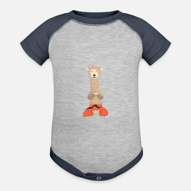 Peru Alpaca Shirt With A Cute Illustration Of Alpaca - Contrast Baby Bodysuit