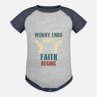 Meeting Worry ends when faith begins - Christianity - Baseball Baby Bodysuit