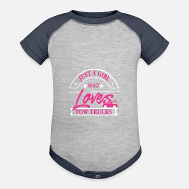 Crook Just a Girl who loves Tow Trucks - Baseball Baby Bodysuit