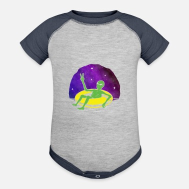 Area 51 Lazy UFO Alien Galaxy relaxing Spaceship - Baseball Baby Bodysuit