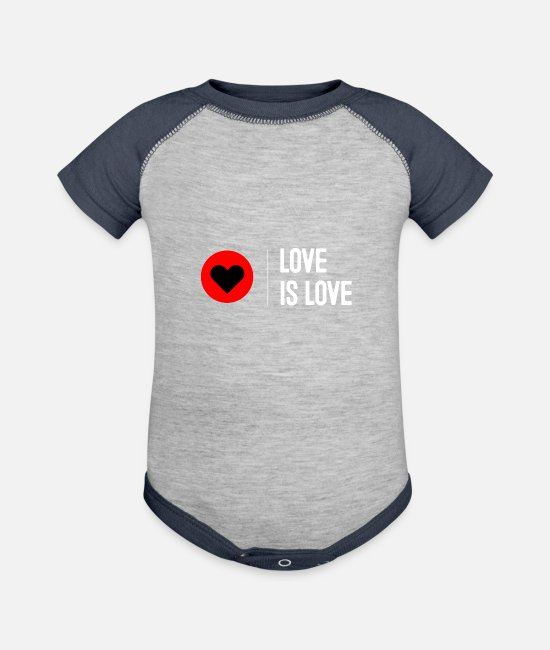 Heart Baby One Pieces - Love is Love Hearts - Baseball Baby Bodysuit heather gray/navy
