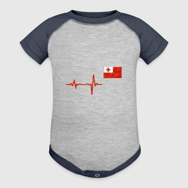 Heartbeat Tonga flag gift - Baby Contrast One Piece