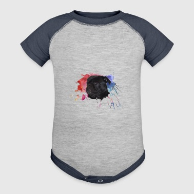 Pug Paint Splatter - Baby Contrast One Piece
