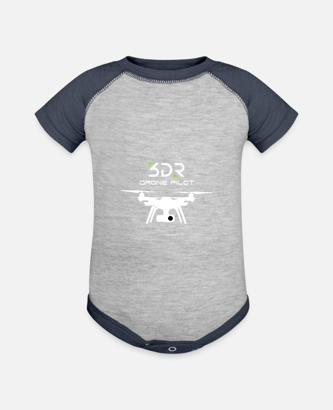Pilot Baby One Pieces - 3DR DRONE PILOT SOLO DRONE2 - Baseball Baby Bodysuit heather gray/navy