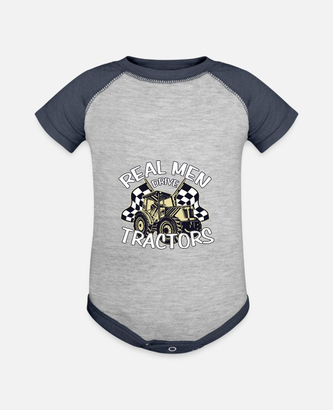V8 Baby One Pieces - Tractor Farmer Cool Trecker Shirt Gift Farmer - Baseball Baby Bodysuit heather gray/navy