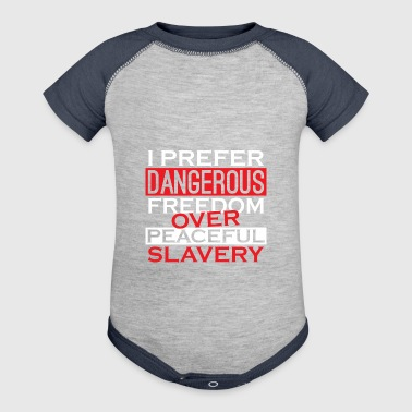 Peaceful Slavery Patriotic American 2nd Amendment - Baby Contrast One Piece