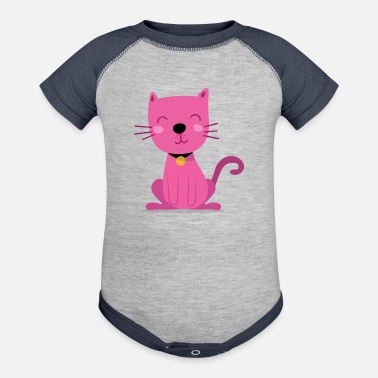 Cats Pink Sitting Cat - Baseball Baby Bodysuit
