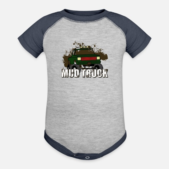 Truck Driver Baby Clothing - Mud Truck - Baseball Baby Bodysuit heather gray/navy