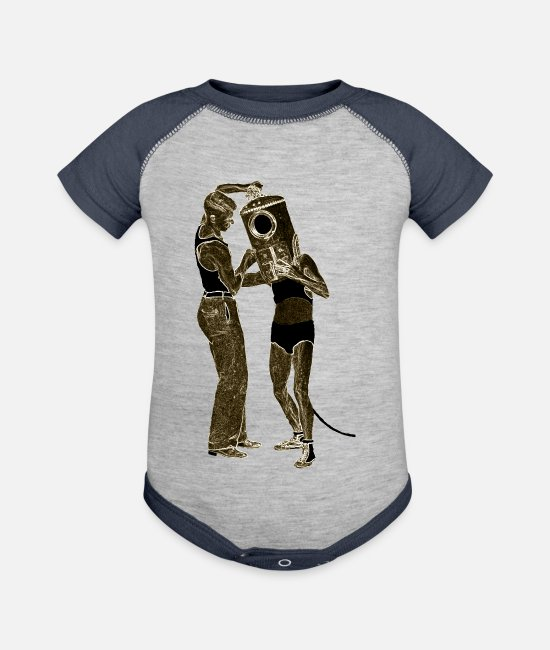 Water Baby One Pieces - Vintage Shallow Water Diver with Diving Helmet - Baseball Baby Bodysuit heather gray/navy