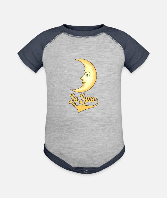 Star Observers And Baby One Pieces - La Luna Cute moon Design for a Moon Lovers - Baseball Baby Bodysuit heather gray/navy