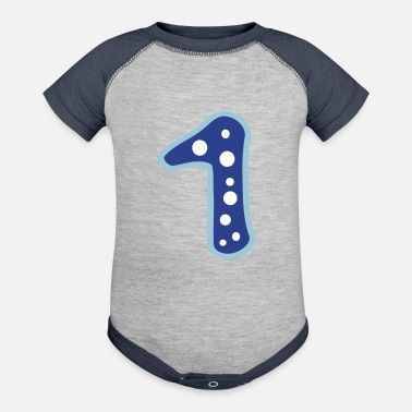 Number Number 1 & bubbles pattern - Baseball Baby Bodysuit