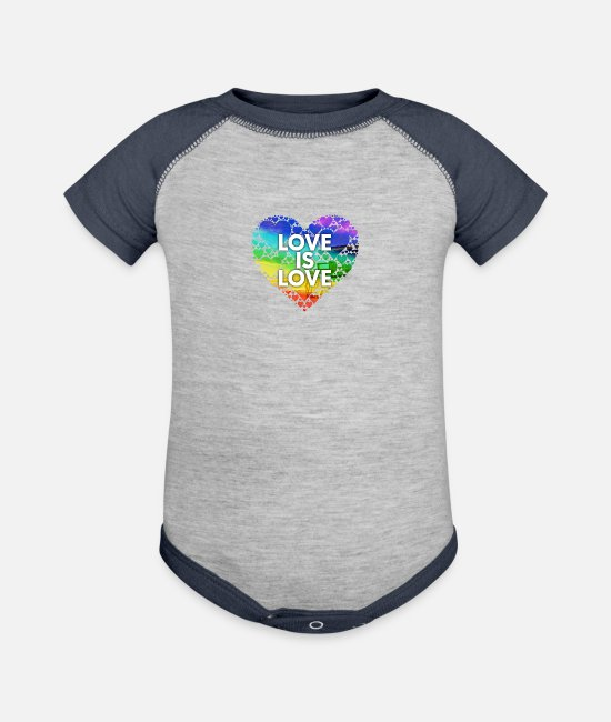 Bisexual Baby One Pieces - Love Is Love Miami - Baseball Baby Bodysuit heather gray/navy