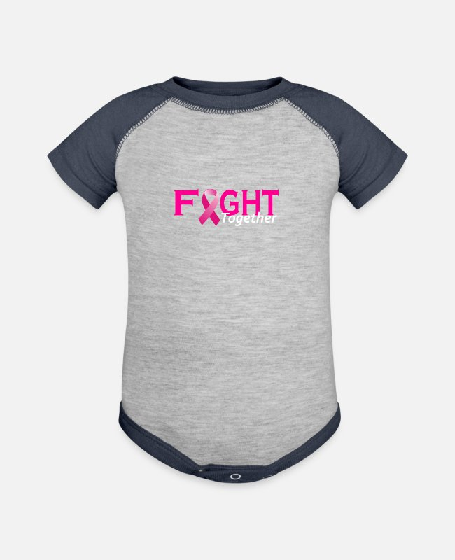 Day Of Prayer And Repentance Baby One Pieces - Fight Together World Cancer Day - Baseball Baby Bodysuit heather gray/navy