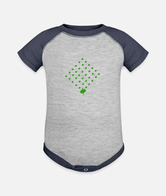 Pattern Baby One Pieces - Leaf Quadrat Pattern for nature-boys - Baseball Baby Bodysuit heather gray/navy
