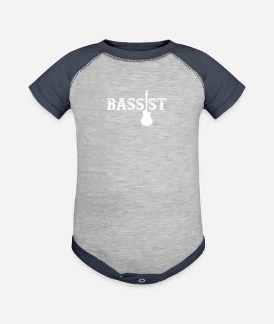 Guitar Player Baby Clothing - Bassist T Shirt - Baseball Baby Bodysuit heather gray/navy