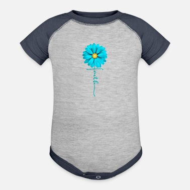 Christian Clothing Faith Flower, Christian, Jesus - Contrast Baby Bodysuit