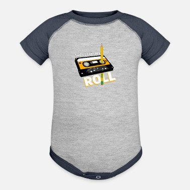 Cassette This is how I walk ... this is how i roll - Baseball Baby Bodysuit