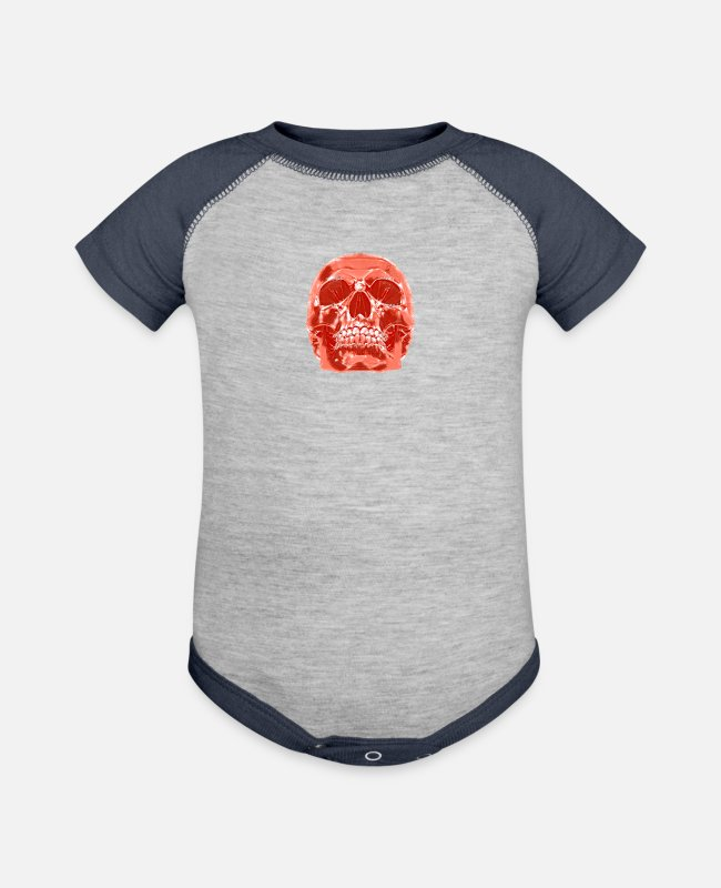 Shrovetide Baby One Pieces - Skull Skull Horror - Baseball Baby Bodysuit heather gray/navy