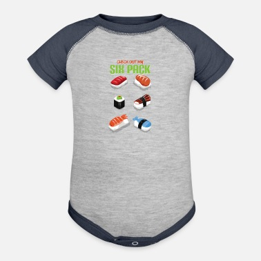 Mango Funny Check Out My Six Pack Fitness Lover Sushi - Baseball Baby Bodysuit