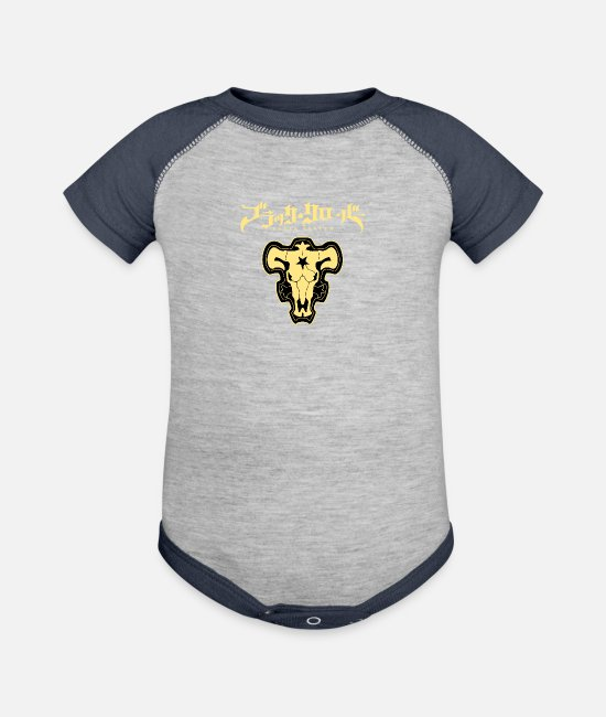 Asta Baby One Pieces - Black Clover Black Bulls - Baseball Baby Bodysuit heather gray/navy