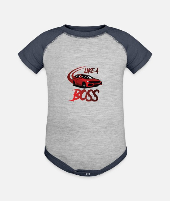 Wheel Baby One Pieces - LIKE A BOSS - Baseball Baby Bodysuit heather gray/navy
