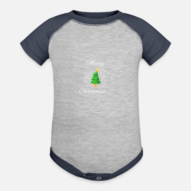Poinsettia Merry Christmas with Christmas tree and poinsettia - Contrast Baby Bodysuit