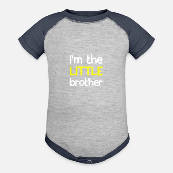 Brother Baby Clothing - I M THE LITTLE BROTHER - Baseball Baby Bodysuit heather gray/navy