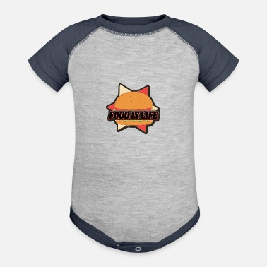 Hunger Food is Life, Burger - Baseball Baby Bodysuit