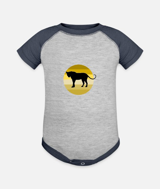 Africa Baby Clothing - Leopard - Baseball Baby Bodysuit heather gray/navy
