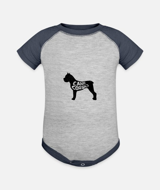 Sicily Baby One Pieces - Cane Corso - Baseball Baby Bodysuit heather gray/navy