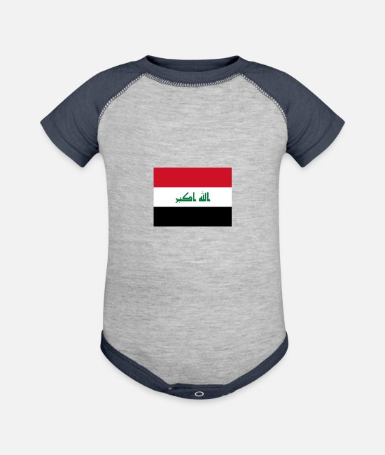 Irak Baby One Pieces - Flag of Iraq (iq) - Baseball Baby Bodysuit heather gray/navy