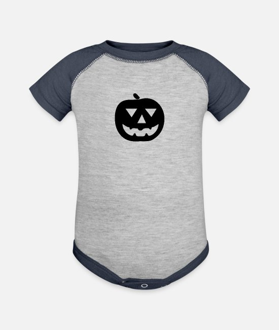 Halloweenpumpkin Symbol Baby One Pieces - Halloween-pumpkin Symbol - Baseball Baby Bodysuit heather gray/navy