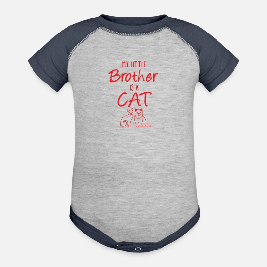 Little Sister Baby Clothing - My Little Brother Is A Cat - Baseball Baby Bodysuit heather gray/navy