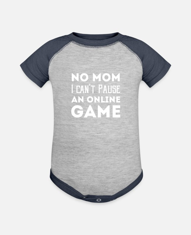 Quote Baby One Pieces - No Mom - Baseball Baby Bodysuit heather gray/navy