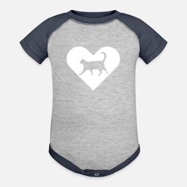Heart-Cat (white) - Baseball Baby Bodysuit