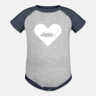 Heart-Mouse (white) - Baseball Baby Bodysuit